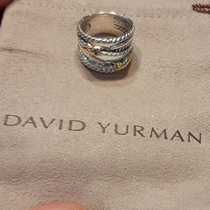David Yurman Cable and Gold Cross X Ring